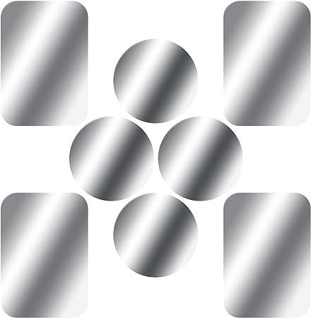 Skyee 8 Stück Metallplatte Metallplättchen Selbstklebend Ersatzplatten 4 Runden Und 4 Rechteckig Mit 3m Klebefolie Für Magnet Kfz Handyhalterung Kompatibel Mit Handy Und Tablet Silber Elektronik