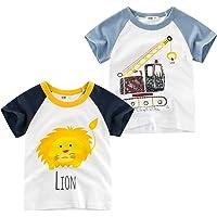 Oyoden Camisetas Manga Corta Niños Algodón Blusa Tops Bebé Verano 1-7 Años Pack de 2