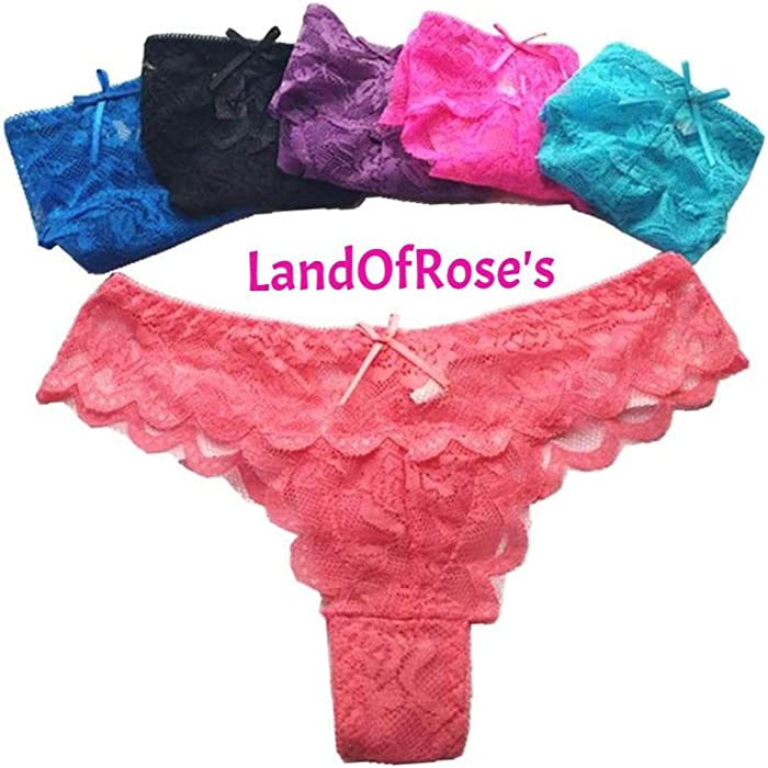 c748c160c66f 5pcs/lot Pure Color Full Lace Hollow Out Panties Knickers for Women Thongs Sexy  Lingerie at Amazon Women's Clothing store: