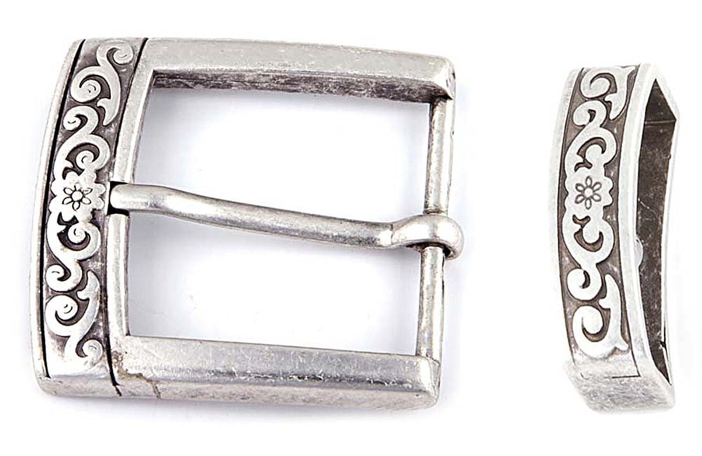 Gürtelschnallen für Wechselgürtel Gürtelschliesse Ornamente Buckles Buckl Gürtel Schnalle Wechselgürtelschnallen silber 40 mm