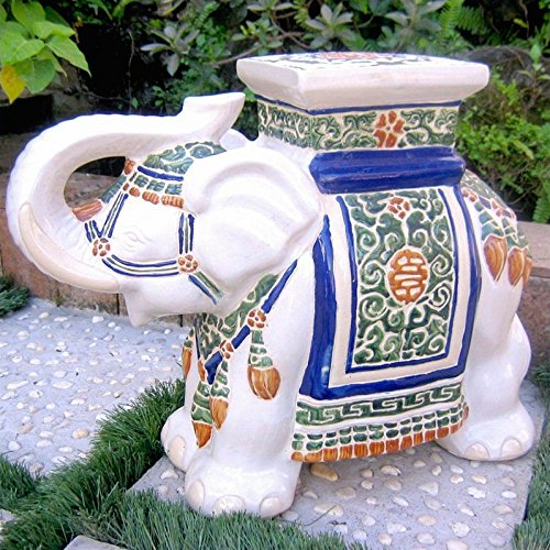 (International Caravan VHO16A-C-LG-125-IC Furniture Piece Large Porcelain Elephant Stool)