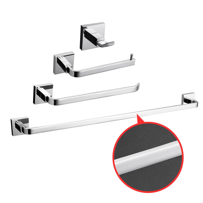 LightInTheBox Solid Brass Bathroom Accessory Sets 4 Pcs Chrome Finish Bath Collection Set owel Bars Robe Hooks Towel Shelf Toilet Paper Holder Towel Rack Shelf S055361000002##wh=