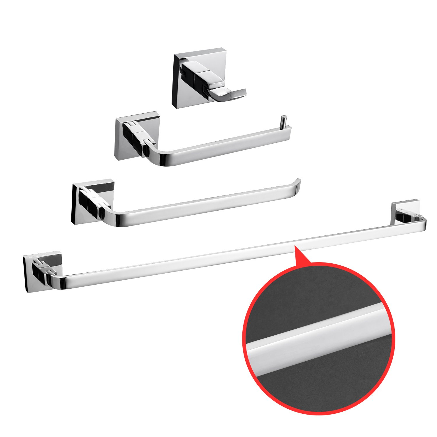 LightInTheBox Bathroom Hardware Set Solid Brass Chrome Finish 4 Pcs Bathroom Accessories Combo Towel Bar Towel Rack Toilet Paper Holder and Robe Hook