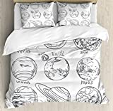 Ambesonne Doodle Duvet Cover Set King Size, Planets of Solar System Sun Mercury Earth Moon Mars Neptune Saturn Jupiter Science, Decorative 3 Piece Bedding Set with 2 Pillow Shams, Black White