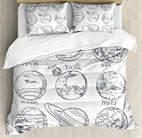 Ambesonne Doodle Duvet Cover Set King Size, Planets of Solar System Sun Mercury Earth Moon Mars Neptune Saturn Jupiter Science, Decorative 3 Piece Bedding Set with 2 Pillow Shams, Black White by Ambesonne