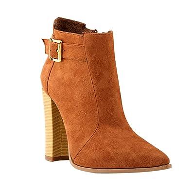 WanYang Damen Stiefeletten mit Absatz Plateau Winterschuhe Frauen Boots High Heel