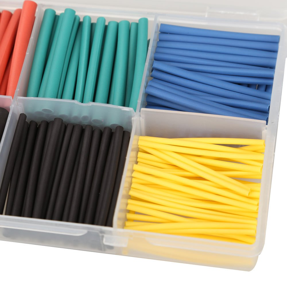 amazoncom vktech 280pcs 21 heat shrink tubing tube sleeving wrap cable wire 5 color 8 size 5 color home improvement