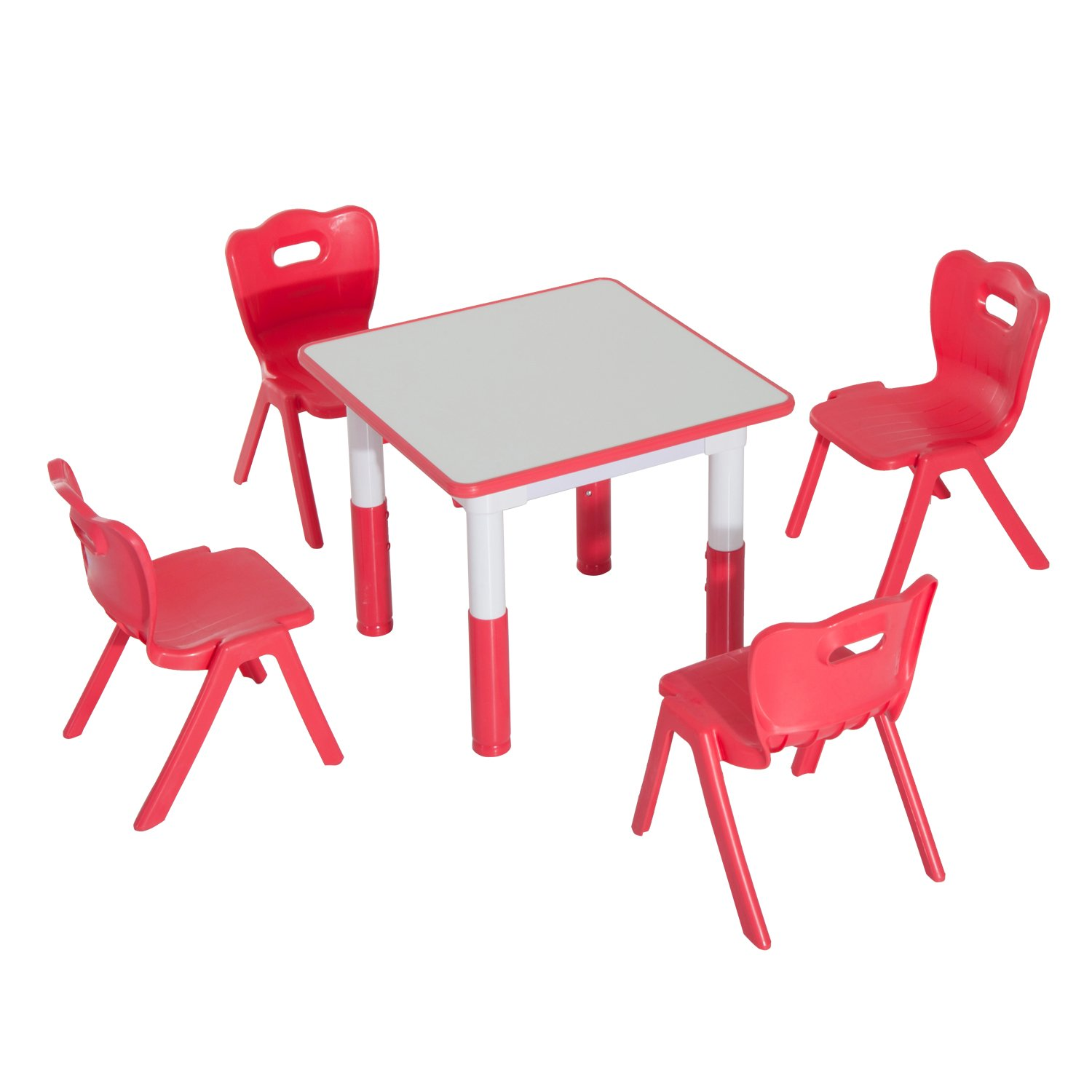 Qaba 5 Piece Kids Learning Activity Table and Chair Set - Red