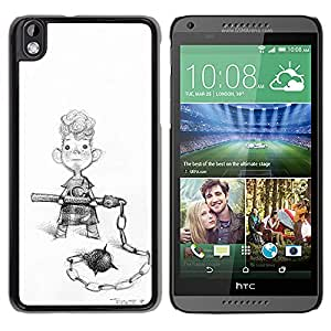 Paccase / SLIM PC / Aliminium Casa Carcasa Funda Case Cover - Boy Street Fight Art Drawing Pencil Curly - HTC DESIRE 816