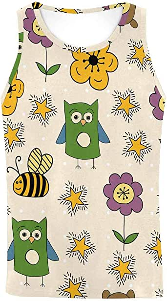 INTERESTPRINT Men's Muscle Gym Workout Training Sleeveless Tank Top Owl Bees Flowers and Stars