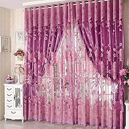 Amazon.com : Haodou Romantic Modern Floral Tulle Curtains For Living ...