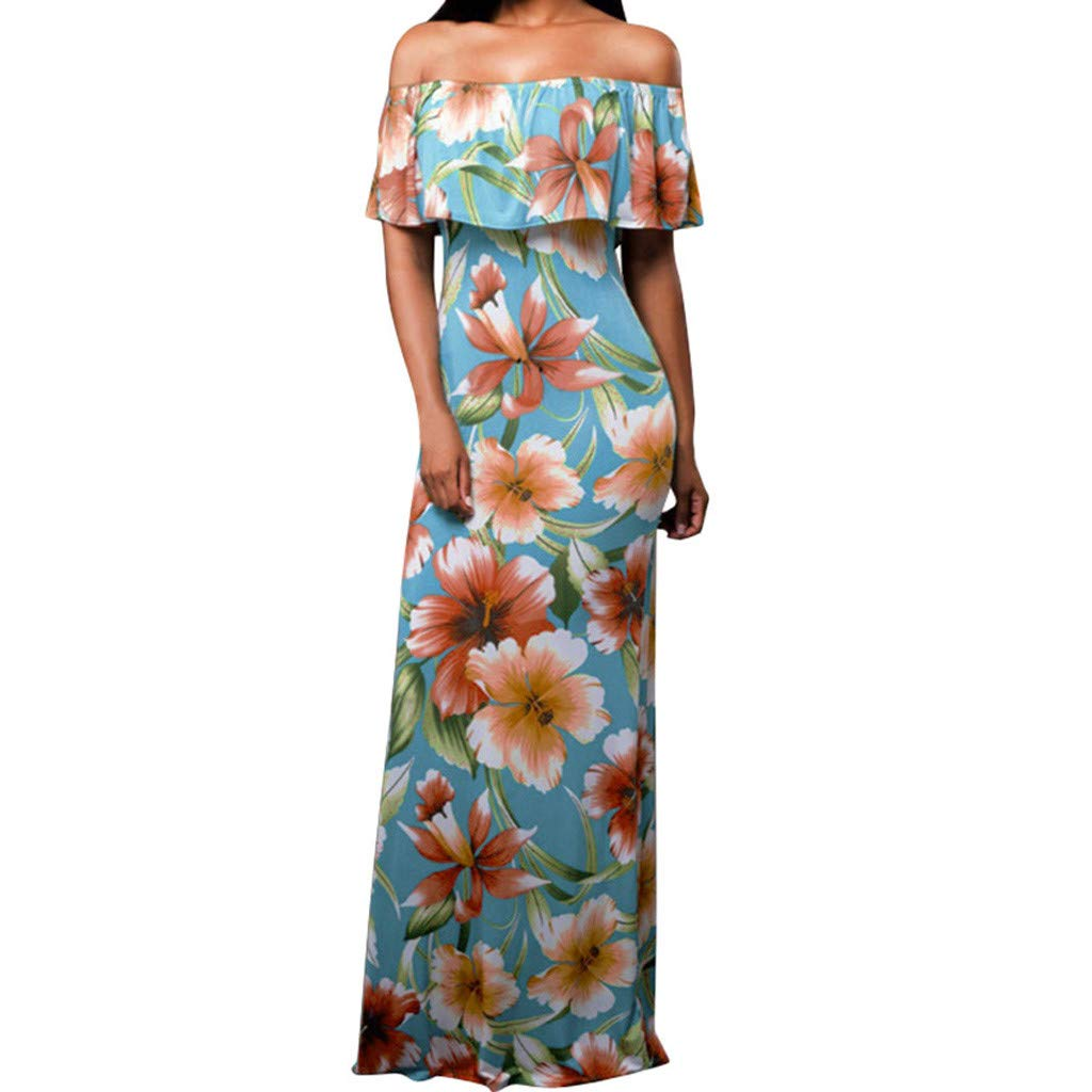 Alangbudu Women Off The Shoulder Ruffled Slim Fit Bodycon Pencil Chiffon Evening Party Cocktail Floral Print Dress Gown Light Blue