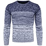 Product review for AOWOFS Men's Fashion Slim Fit Pullover Casual O- Neck Gradient Color Warm Knitted Sweater