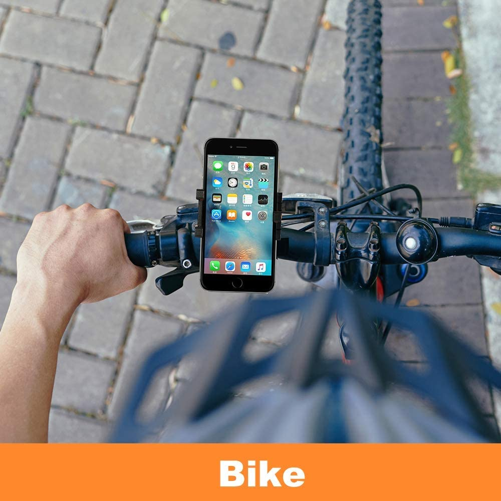 Wetoph Bike Phone Holder WH08 Phone Mount for Bike Fits iPhone X// 8//8 Plus// 7//7 Plus// 6s// 6s Plus Black Galaxy S7// S6// S5 and Other Brand Phones for Bicycles and Motorcycles Handlebar Holder