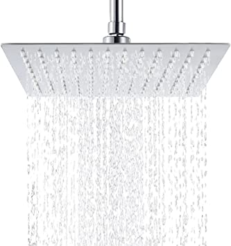 Rain Shower Rainfall Shower Head 12 inch Luxury Design Made of 4 mm Solid 304 Stainless Steel with Elegant Column Shaped Nozzles in Chrome Waterfall Showerhead PurrfectZone Rain Shower Head