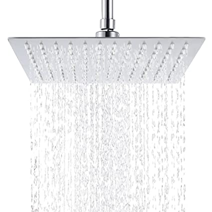 6 Inch Stainless Steel Ultra-thin Waterfall Shower Heads Square High Pressure Rainfall Shower Head Rain Showerheads silver Shower Heads Home Improvement