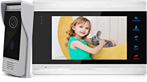 BCOM Video Door Phone Intercom System 7 Inch 4-Wire Video Doorbell with 1200TVL Camera Support Unlock Night Vision Record Snapshot Motion Detection IP65 Waterproof