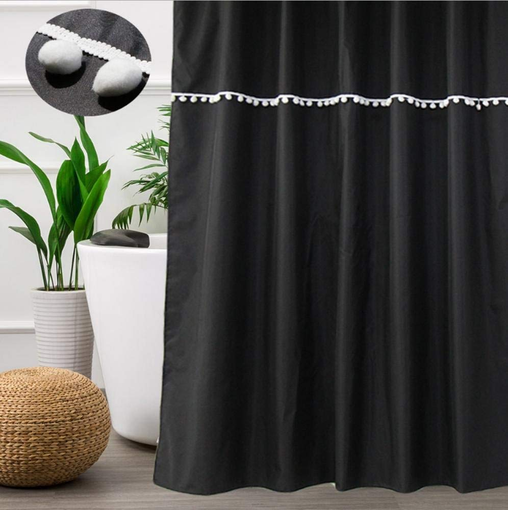 JaHGDU Shower Curtain 1pcs Black Shower Curtain Polyester Material Mildewproof Thickened Bathroom Amenities Durable Washable Hotel Shade Super Quality Opaque (Size : 180180cm) by JaHGDU (Image #2)