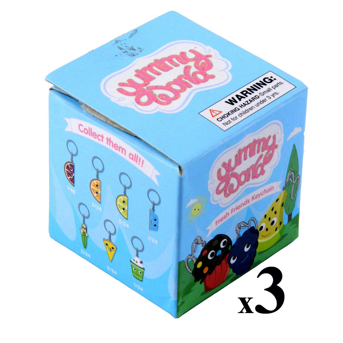 Kidrobot Lot of (3) Yummy World Fresh Friends Blind Box Vinyl Figure Keychains by Kidrobot