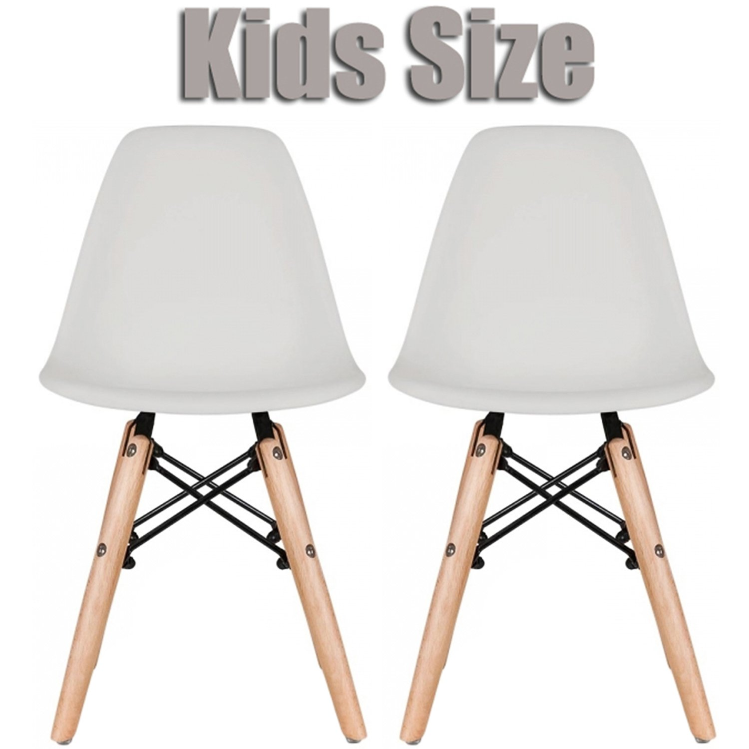 2xhome Set of Two (2) - Kids Size Eames Side Chairs Eames Chairs Natural Wood Wooden Legs Eiffel Childrens Room Chairs No Arm Arms Armless Molded Plastic Seat Dowel Leg (Grey)
