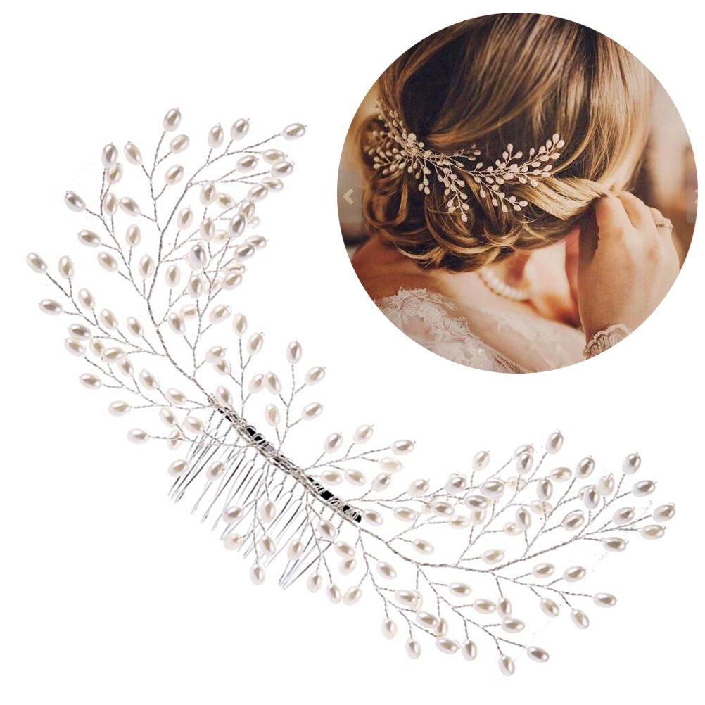 Braut Hochzeit Perlen Haarschmuck Kamm Perlen Schmuck Haarkamm ivory h5