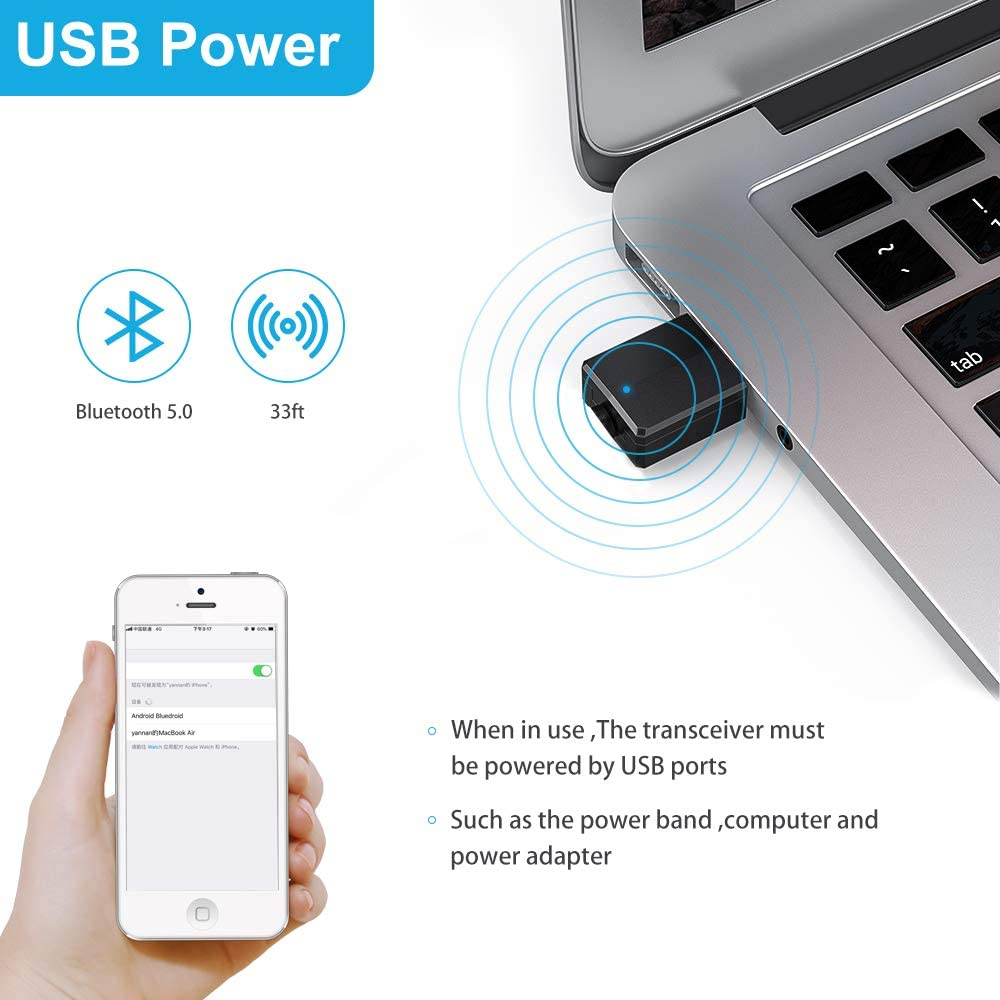 RAYROW Adaptador Bluetooth,Transceptor de Audio inal/ámbrico y Receptor Transmisor 2 en 1 5.0 con Cable Auxiliar Digital de 3.5 mm para PC//TV//Auriculares//Altavoces//Radio//Reproductor de CD Auriculares