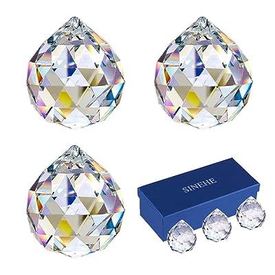 SINEHE Clear Crystal Prism Ball Rainbow Suncatchers Window Prisms Suncatcher, 40MM / 3 Pack : Garden & Outdoor