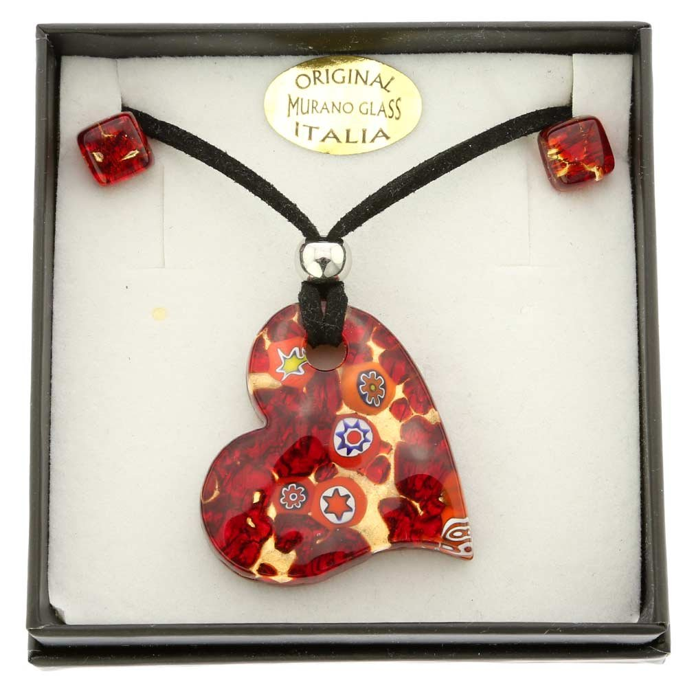 GlassOfVenice Murano Glass Venetian Reflections Heart Necklace and Earrings Set MV_STPDER_8