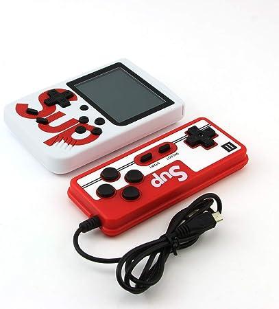SMAA Retro portátil clásico Juego de Consola con 400 Clásica FC Juegos de 2,8 Pulgadas a Color Ayuda de la Pantalla, para Conexión de TV y Dos Jugadores, Consola de Videojuegos portátil,Blanco:
