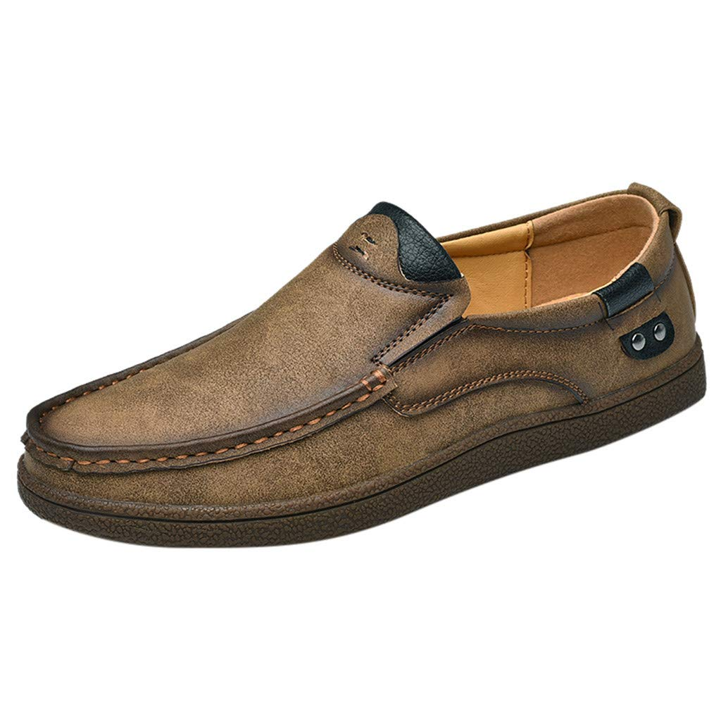 Chenway Loafers for Men Business - Daily Wear in Regular & Big & Tall Sizes - Slip On Dress Shoe - Casual Convenient Driving Shoes (9.5, Khaki) by Chenway