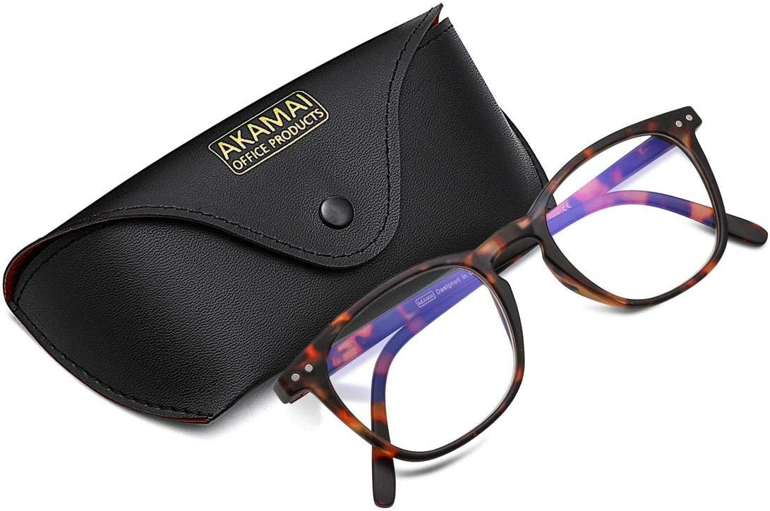 Akamai Blue Light Blocking Frames - Mens and Womens Computer Screen Bluelight Protection - Anti UV - Charleston Model (+0.0, Tortoise)