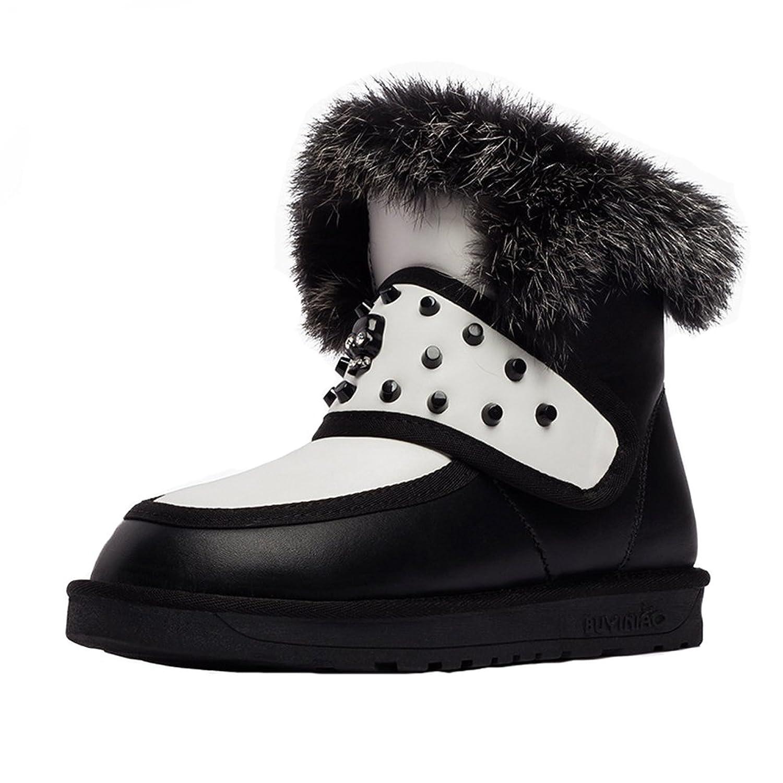 Women's Rivet Leather Winter Warm Flat Snow Boots