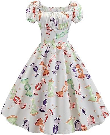 Hcfkj Robe Ete Femme Femelles Vintage Des Annees 1950 Retro Manches Courtes Imprimer Robe De Soiree Robe De Bal Bal Amazon Fr Vetements Et Accessoires