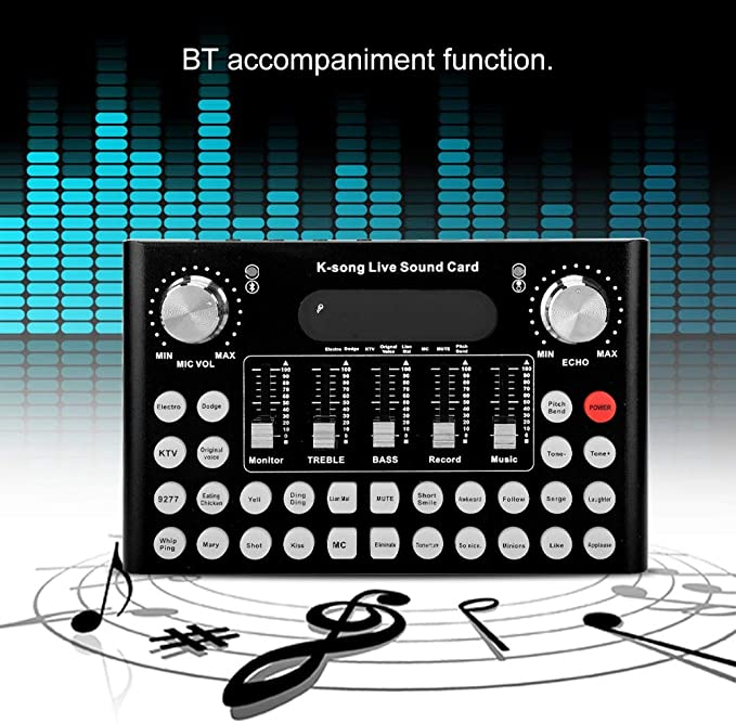 Aramox Sound Card Multifunctional Sound Card Portable Live Sound Card Audio Mixer Voice Changer F007 Metal Shell 1200mA DC5V//1A for USB Mobile Phone Computer BT Live Sound Card Black