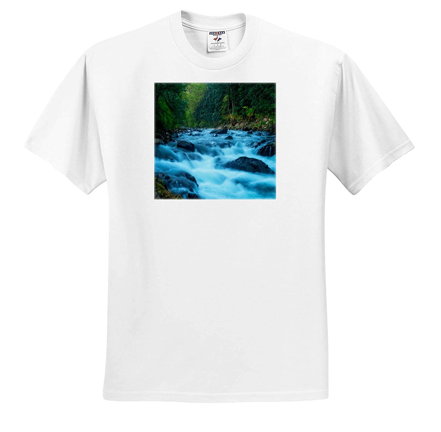 ts/_309071 Rushing Water Flowing Through Forest Landscapes 3dRose Mike Swindle Photography Adult T-Shirt XL