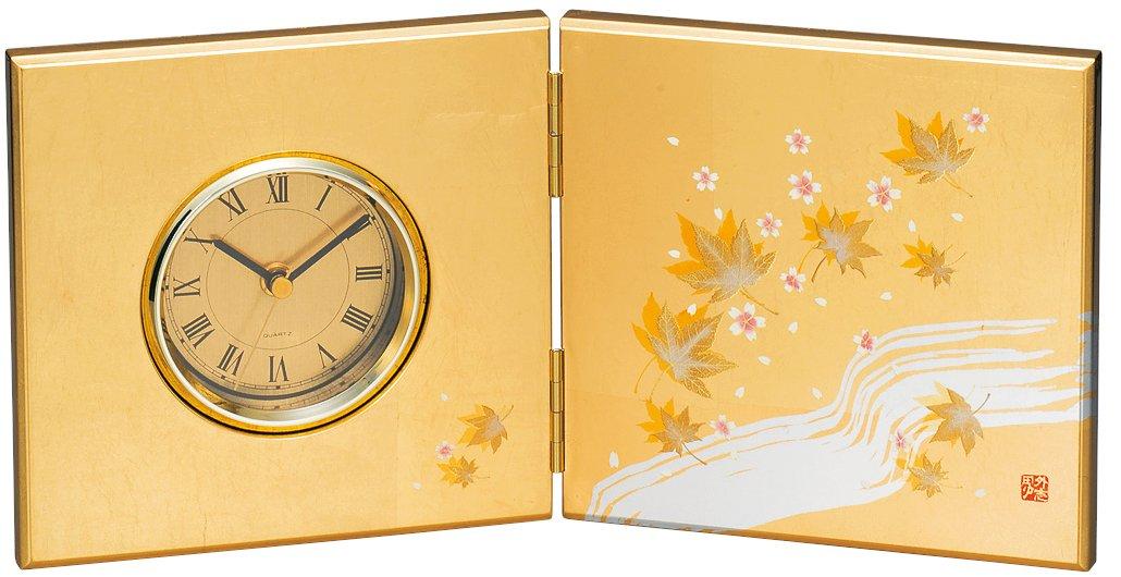 中谷兄弟商会 山中漆器 屏風時計(中) 金銀箔 華かすみ33-4208 B01M61R2AT