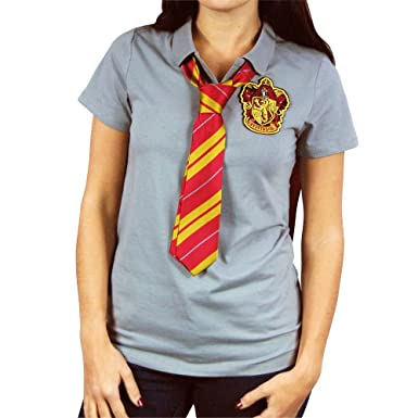 a3e437d5 Womens Harry Potter Hogwarts Gryffindor Cape Polo Shirt For Adults with Tie  XL - EU 40-42 Grey: Amazon.co.uk: Clothing