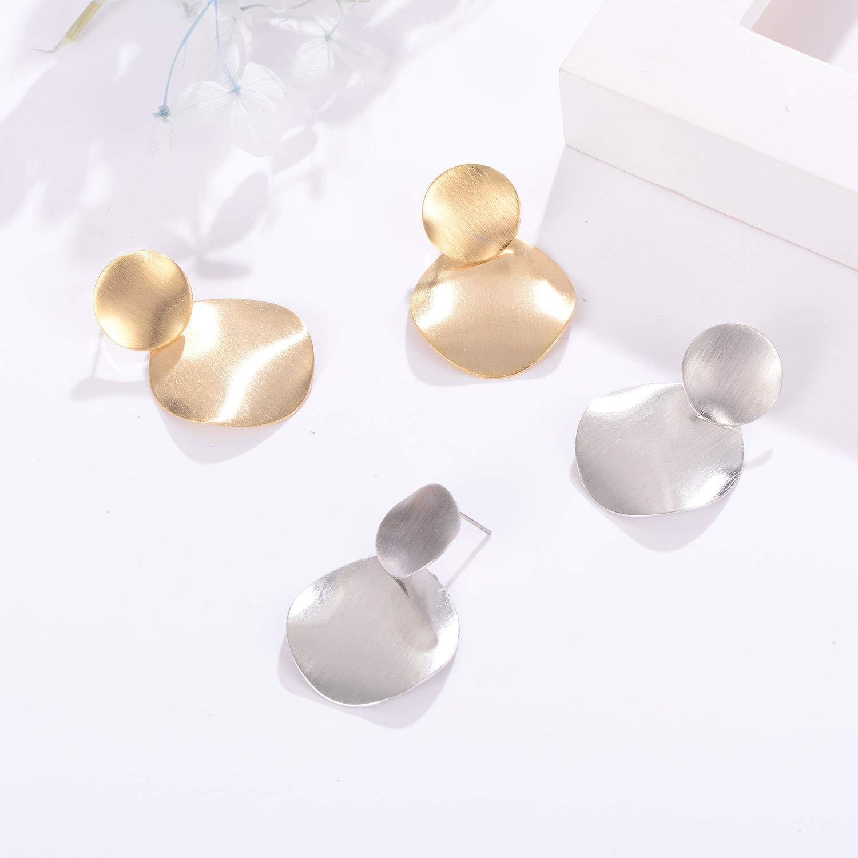 QIFA Hoop Earrings Round Dangle Gold Silver Plated Fashion Polished Drop Earrings for Women Girl