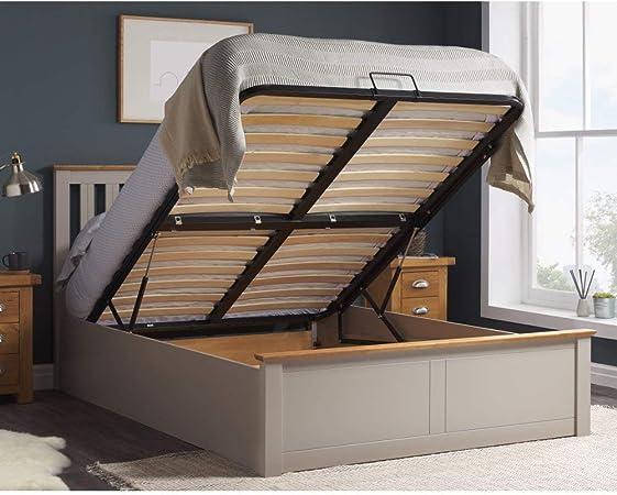 Phoenix Ottoman Storage Bed Pearl Grey Finish Modern Wooden Frame