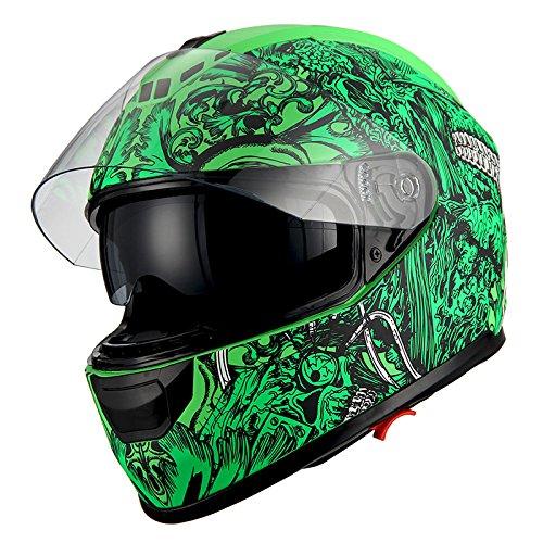 1Storm Motorcycle Full Face Helmet Dual Lens/Sun Visor Matt Skull ()