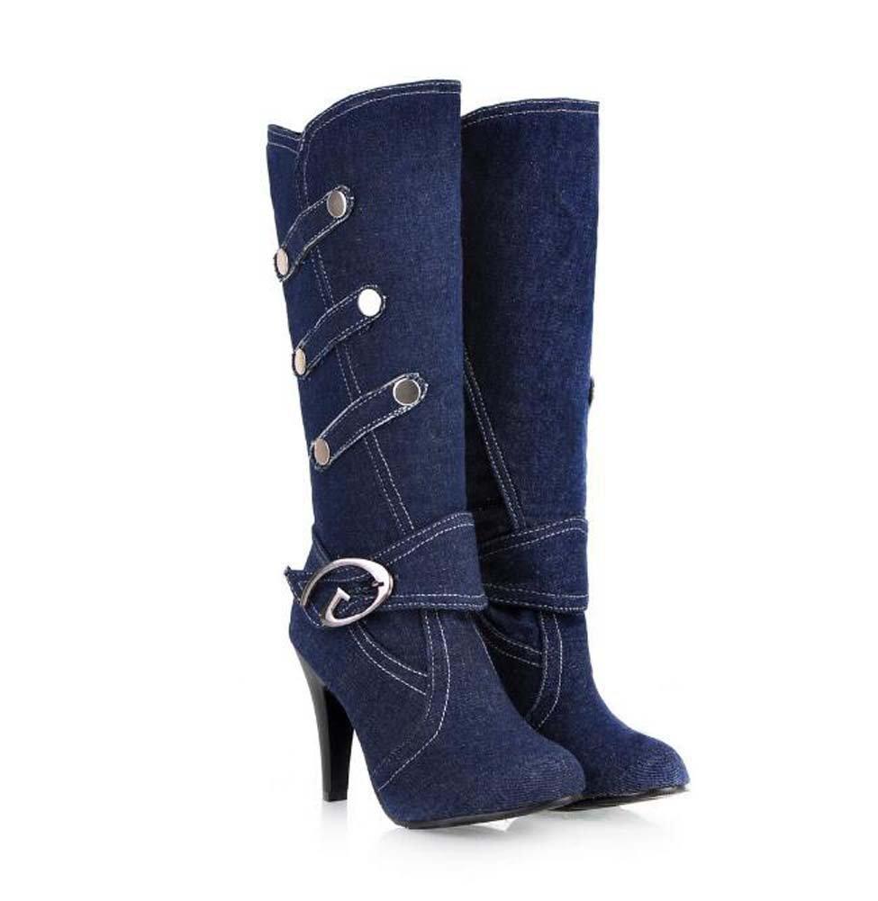 Knie Stiefel 8cm Stiletto Ritter Stiefel Gürtelschnalle Frauen Spitz Zehen-Denim Gürtelschnalle Stiefel Nieten Kleid Schuhe Eu Größe 32-42 Light Blau a8a5dd