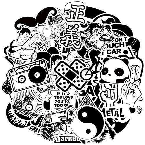Waterproof Vinyl Stickers for Laptops Skateboard Bumper Bike Car Decals (100Pcs Black and White Stlye)