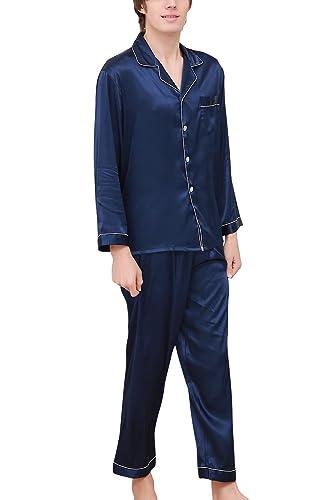 Dolamen Pijamas para Hombre Satén Largo, Hombre Parejas Primavera Verano camisones Pijamas de parejas Ropa de dormir, Collar con bolsillo con botones: ...