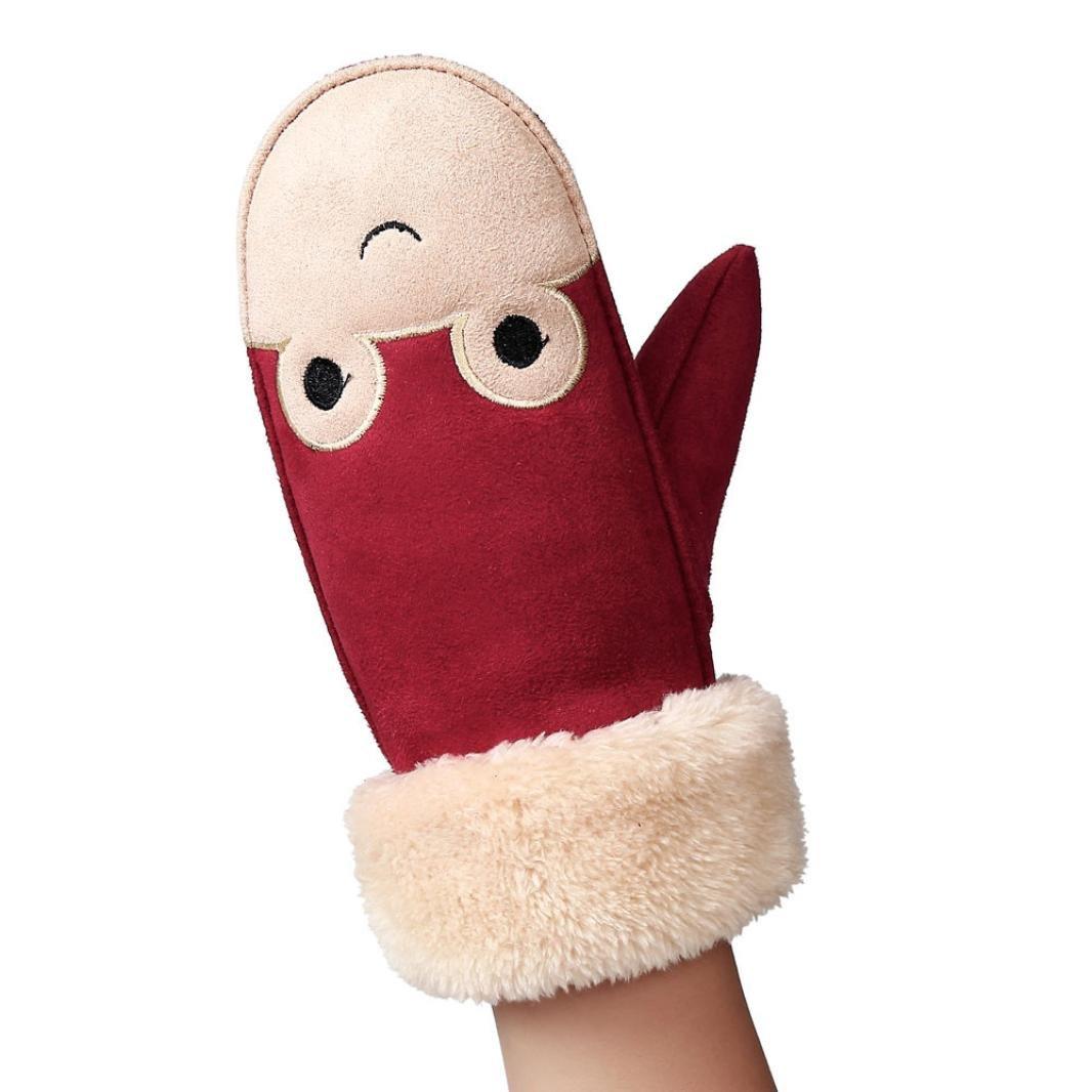 Girls Gloves, SHOBDW Girls Boys Cute Twist Full Finger Warm Winter Children Gloves With Ropes SHOBDW-51