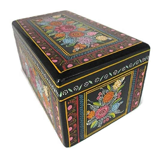 Amazon.com: El Relicario de Los Tesoros Rectangular Large Olinala Hand Painted Carved Incised Lacquerware Wooden Jewelry Trinket Stash Box Crafted in ...