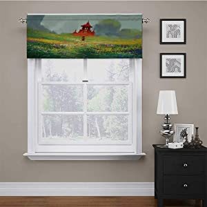Window Curtain Valance Lady in Floral Field Meadow to Ancient Red Castle before Sublime Mountain Artwork Short Straight Drape Valance Brightened Up Your Kitchen & Dining Room Red Green 56 x 16 Inch