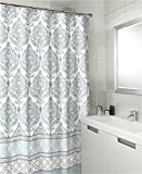 Teal Grey White Canvas Fabric Shower Curtain: Floral Damask with Geometric Border Design