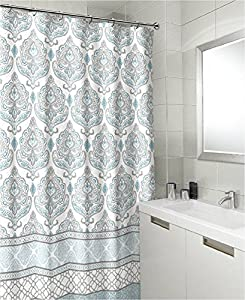 Amazon Teal Grey White Canvas Fabric Shower Curtain