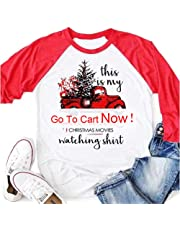Eliversion 3/4 Sleeve Graphic Raglan Tees Cotton Casual Tops, This is My Hallmark Christmas Movie Watching Shirts for Women Girls Red