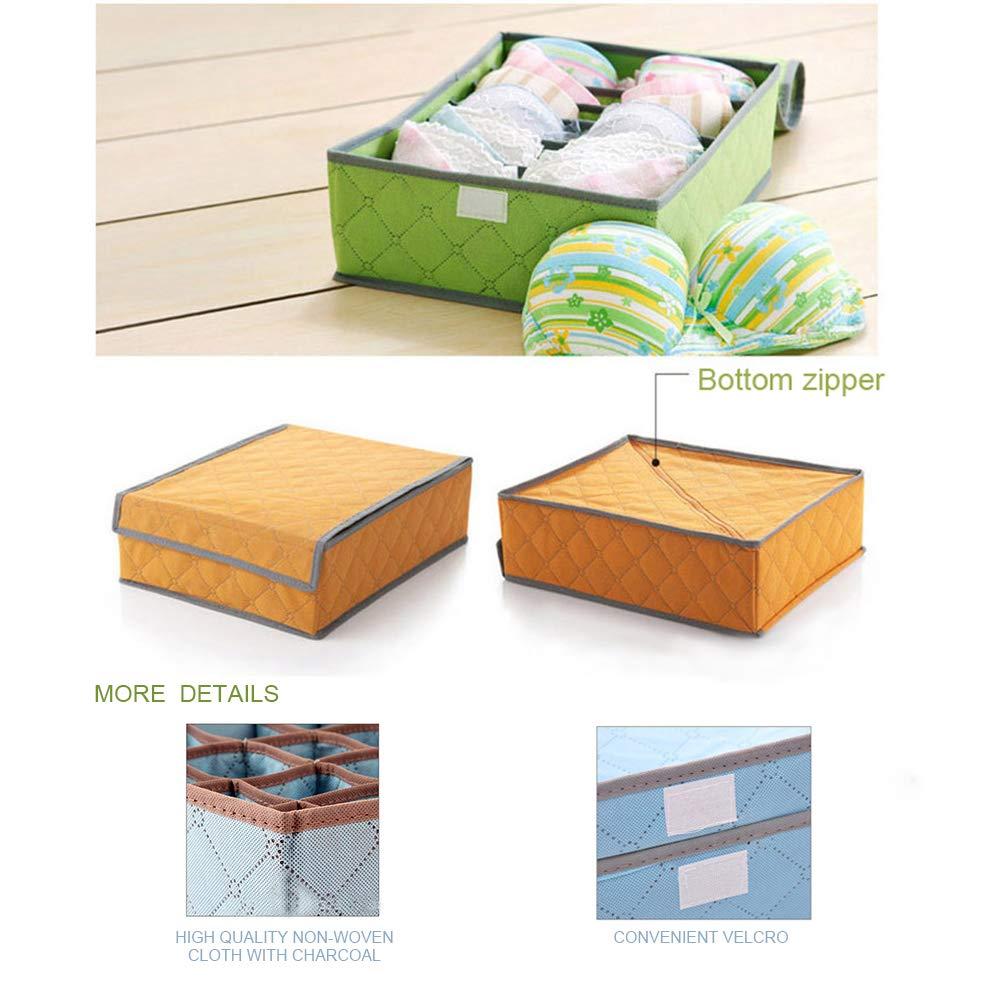 10.5x13.5x4.3in Homday Bolso Organizador Plegable para Ropa Interior Tela de bamb/ú y carb/ón 24 Compartimentos Naranja caj/ón con Funda